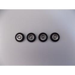 Jeu de 4 roues à rayons avec pneus 1/43ème